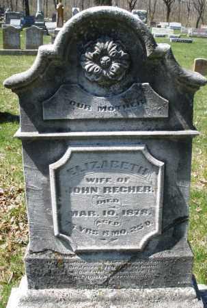 RECHER, ELIZABETH - Montgomery County, Ohio   ELIZABETH RECHER - Ohio Gravestone Photos