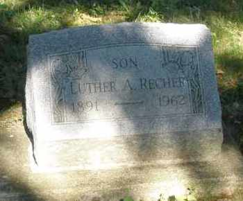 RECHER, LUTHER A. - Montgomery County, Ohio   LUTHER A. RECHER - Ohio Gravestone Photos