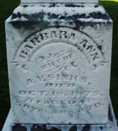 SINKS, BARBARA ANN - Montgomery County, Ohio | BARBARA ANN SINKS - Ohio Gravestone Photos