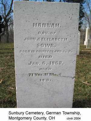 SOWR, HANNAH - Montgomery County, Ohio   HANNAH SOWR - Ohio Gravestone Photos