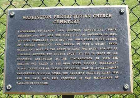 WASHINGTON PRESBYTERIAN, HISTORY - Montgomery County, Ohio | HISTORY WASHINGTON PRESBYTERIAN - Ohio Gravestone Photos