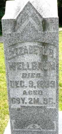 WELLBAUM, ELIZABETH - Montgomery County, Ohio | ELIZABETH WELLBAUM - Ohio Gravestone Photos