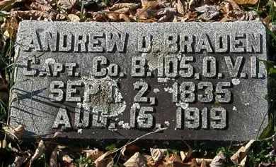 BRADEN, ANDREW D. - Morrow County, Ohio   ANDREW D. BRADEN - Ohio Gravestone Photos