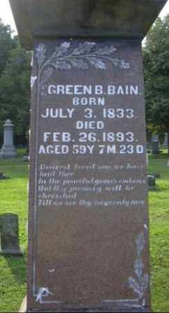 BAIN, GREEN B. - Muskingum County, Ohio | GREEN B. BAIN - Ohio Gravestone Photos