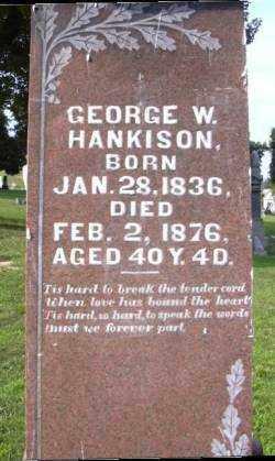 HANKISON, GEORGE W. - Muskingum County, Ohio | GEORGE W. HANKISON - Ohio Gravestone Photos