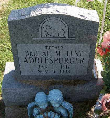 ADDLESPURGER, BEULAH M.LENT - Noble County, Ohio | BEULAH M.LENT ADDLESPURGER - Ohio Gravestone Photos