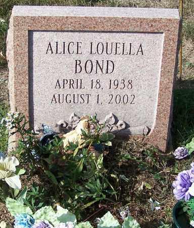 BOND, ALICE LOUELLA - Noble County, Ohio | ALICE LOUELLA BOND - Ohio Gravestone Photos