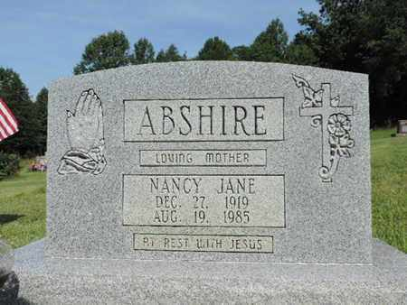 ABSHIRE, NANCY JANE - Pike County, Ohio | NANCY JANE ABSHIRE - Ohio Gravestone Photos