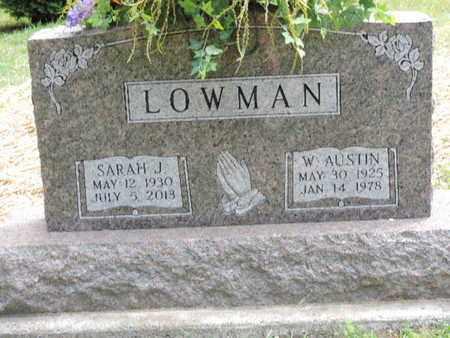 LOWMAN, W. AUSTIN - Pike County, Ohio   W. AUSTIN LOWMAN - Ohio Gravestone Photos