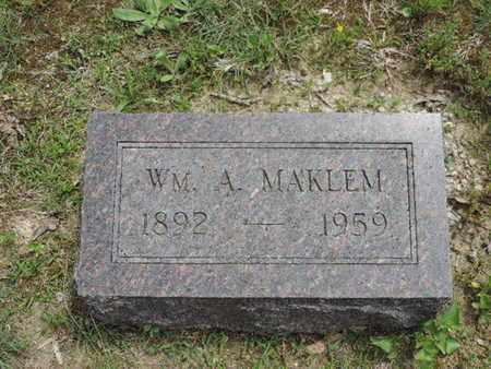 MAKLEM, WM. A. - Pike County, Ohio   WM. A. MAKLEM - Ohio Gravestone Photos