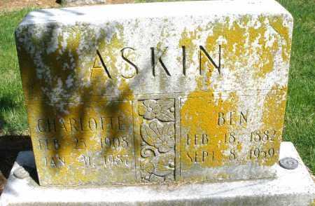 ASKINS, CHARLOTTE - Preble County, Ohio   CHARLOTTE ASKINS - Ohio Gravestone Photos
