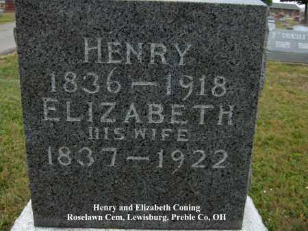 CONING, ELIZABETH - Preble County, Ohio   ELIZABETH CONING - Ohio Gravestone Photos