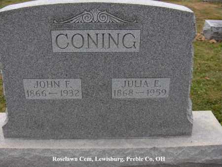 HAPNER CONING, JULIA - Preble County, Ohio | JULIA HAPNER CONING - Ohio Gravestone Photos