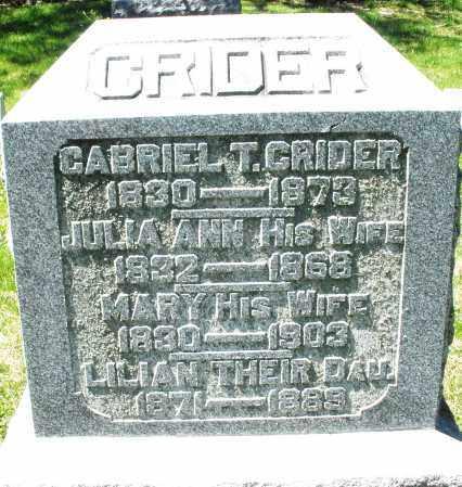 CRIDER, JULIA ANN - Preble County, Ohio | JULIA ANN CRIDER - Ohio Gravestone Photos