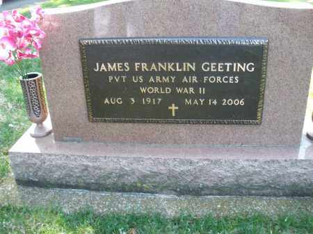 GEETING, JAMES FRANKLIN - Preble County, Ohio | JAMES FRANKLIN GEETING - Ohio Gravestone Photos