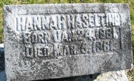 HASELTINE, HANNAH - Preble County, Ohio   HANNAH HASELTINE - Ohio Gravestone Photos