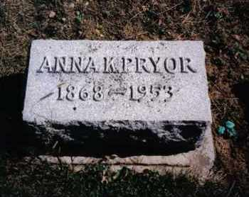 PRYOR, ANNA K. - Preble County, Ohio | ANNA K. PRYOR - Ohio Gravestone Photos