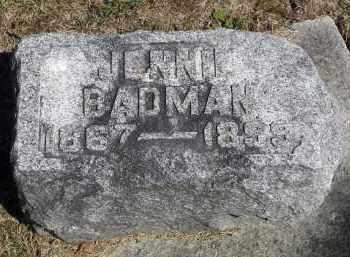 BADMAN, JENNIE - Putnam County, Ohio | JENNIE BADMAN - Ohio Gravestone Photos
