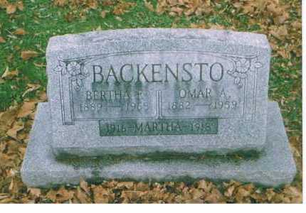 BACKENSTO, BERTHA - Richland County, Ohio | BERTHA BACKENSTO - Ohio Gravestone Photos