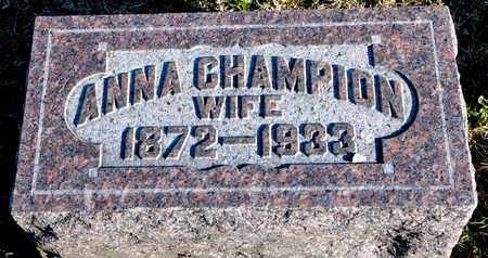 CHAMPION, ANNA - Richland County, Ohio | ANNA CHAMPION - Ohio Gravestone Photos