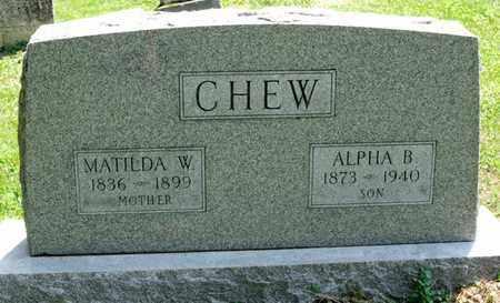 CHEW, ALPHA B - Richland County, Ohio | ALPHA B CHEW - Ohio Gravestone Photos