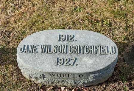 WILSON CRITCHFIELD, JANE - Richland County, Ohio | JANE WILSON CRITCHFIELD - Ohio Gravestone Photos