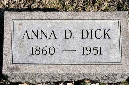 DICK, ANNA D - Richland County, Ohio | ANNA D DICK - Ohio Gravestone Photos
