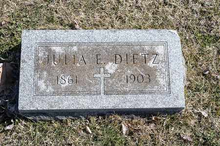 DIETZ, JULIA E - Richland County, Ohio | JULIA E DIETZ - Ohio Gravestone Photos