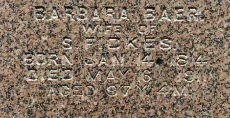 BAER FICKES, BARBARA - Richland County, Ohio | BARBARA BAER FICKES - Ohio Gravestone Photos