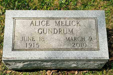 GUNDRUM, ALICE - Richland County, Ohio | ALICE GUNDRUM - Ohio Gravestone Photos