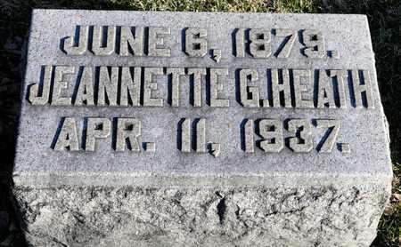 HEATH, JEANNETTE G - Richland County, Ohio   JEANNETTE G HEATH - Ohio Gravestone Photos