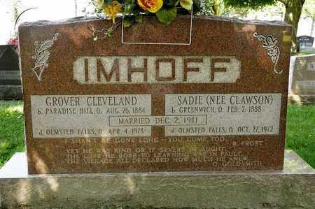 CLAWSON IMHOFF, SADIE - Richland County, Ohio | SADIE CLAWSON IMHOFF - Ohio Gravestone Photos