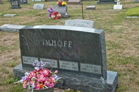 IMHOFF, MARY W - Richland County, Ohio | MARY W IMHOFF - Ohio Gravestone Photos