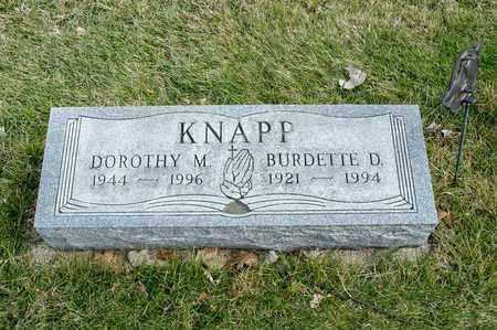 KNAPP, BURDETTE D - Richland County, Ohio | BURDETTE D KNAPP - Ohio Gravestone Photos