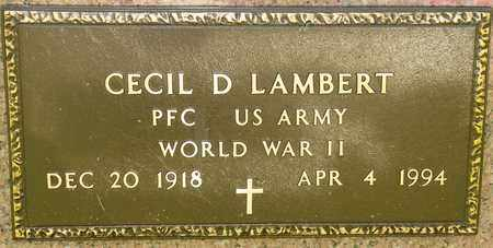LAMBERT, CECIL D - Richland County, Ohio   CECIL D LAMBERT - Ohio Gravestone Photos