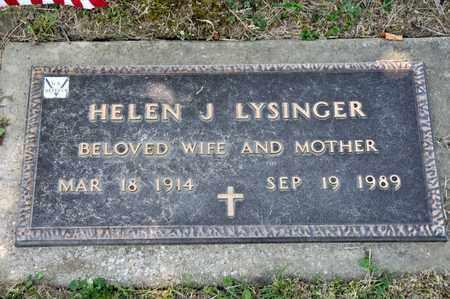 LYSINGER, HELEN J - Richland County, Ohio | HELEN J LYSINGER - Ohio Gravestone Photos