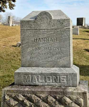 MALONE, HANNAH - Richland County, Ohio   HANNAH MALONE - Ohio Gravestone Photos