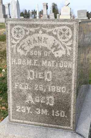 MATTOON, FRANK W - Richland County, Ohio | FRANK W MATTOON - Ohio Gravestone Photos