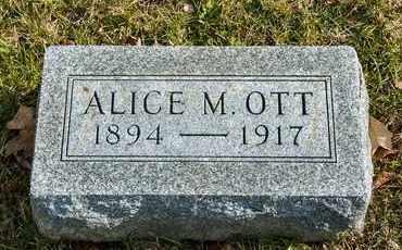 OTT, ALICE M - Richland County, Ohio   ALICE M OTT - Ohio Gravestone Photos