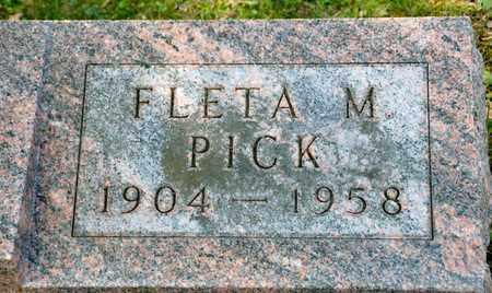 PICK, FLETA M - Richland County, Ohio | FLETA M PICK - Ohio Gravestone Photos