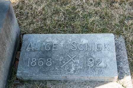 SCHICK, ALICE - Richland County, Ohio   ALICE SCHICK - Ohio Gravestone Photos