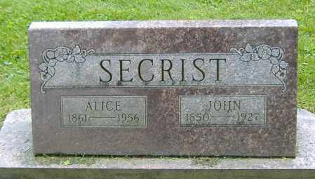 SECRIST, ALICE - Richland County, Ohio | ALICE SECRIST - Ohio Gravestone Photos
