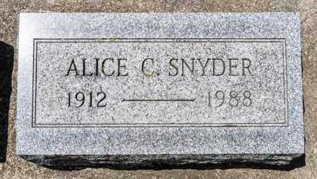 SNYDER, ALICE C - Richland County, Ohio | ALICE C SNYDER - Ohio Gravestone Photos