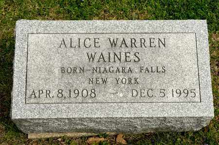 WARREN WAINES, ALICE - Richland County, Ohio | ALICE WARREN WAINES - Ohio Gravestone Photos