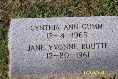 ROUTTE GUMM, JANE YVONNE - Ross County, Ohio | JANE YVONNE ROUTTE GUMM - Ohio Gravestone Photos