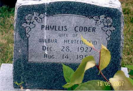 CODER HERTENSTEIN, PHYLLIS - Ross County, Ohio | PHYLLIS CODER HERTENSTEIN - Ohio Gravestone Photos