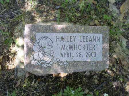 MCWHORTER, HAILEY LEEANN - Ross County, Ohio   HAILEY LEEANN MCWHORTER - Ohio Gravestone Photos