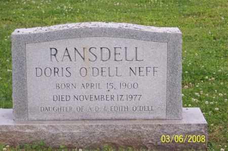 O'DELL NEFF RANSDELL, DORIS - Ross County, Ohio | DORIS O'DELL NEFF RANSDELL - Ohio Gravestone Photos