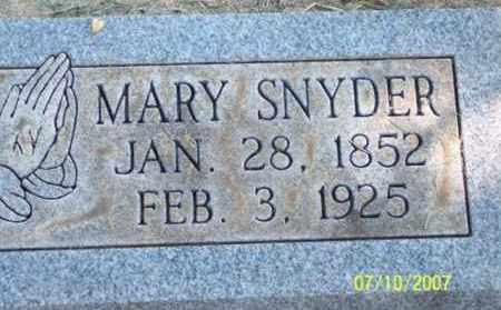 SNYDER, MARY - Ross County, Ohio   MARY SNYDER - Ohio Gravestone Photos