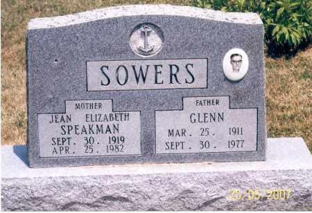 SPEAKMAN SOWERS, JEAN ELIZABETH - Ross County, Ohio | JEAN ELIZABETH SPEAKMAN SOWERS - Ohio Gravestone Photos